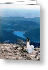 Woman In White Gown On Mountain Top Greeting Card
