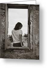 Woman In Window Greeting Card