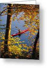 Woman Kayaking With Fall Foliage Greeting Card