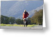 Woman On A Bicycle With Her Dog Greeting Card