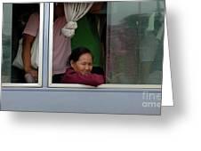 Woman On Bus Laos Greeting Card