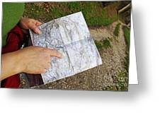 Woman On Country Road Pointing Map Greeting Card