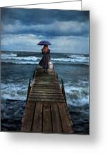 Woman On Dock In Storm Greeting Card