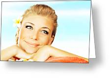 Woman On Spa Massage Bed On The Beach Greeting Card