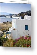 Woman On The Terrace - Mykonos Greeting Card