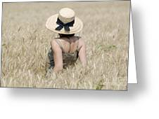 Woman On The Wheat Field Greeting Card