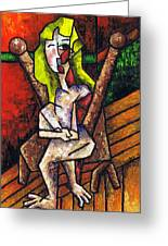 Woman On Wooden Chair Greeting Card by Kamil Swiatek