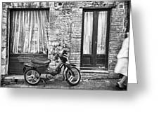 Woman Rushes From Scooter Greeting Card