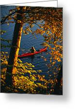 Woman Seakayaking On The Potomac River Greeting Card by Skip Brown