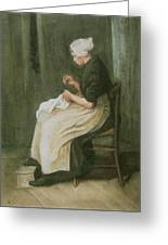 Woman Sewing Greeting Card