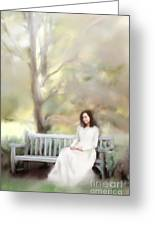 Woman Sitting On Park Bench Greeting Card by Stephanie Frey