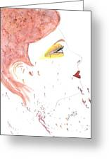Woman Smile Watercolor Painting Greeting Card