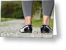 Woman Standing On A Stone Road Greeting Card