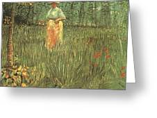 Woman Walking In A Garden Greeting Card
