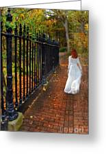 Woman Walking In Long White Gown Greeting Card