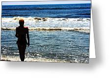 Woman Walking Into Ocean Surf  Greeting Card