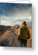 Woman Walking On Top Of Sand Dunes Greeting Card