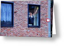 Woman Window Cleaner Greeting Card