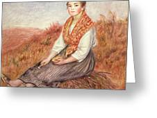 Woman With A Bundle Of Firewood Greeting Card