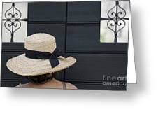 Woman With A Straw Hat Greeting Card
