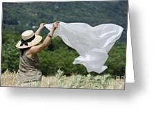 Woman With A White Sheet Greeting Card
