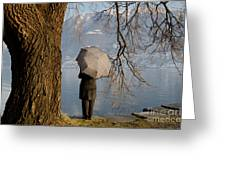 Woman With An Umbrella Greeting Card