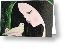 Woman With Dove Greeting Card