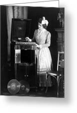 Woman With Phonograph 1908 Greeting Card