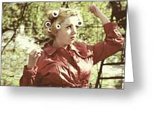 Woman With Rain Coat And Curlers Greeting Card by Joana Kruse