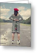 Woman With Red Rose Greeting Card