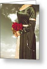 Woman With Roses Greeting Card by Joana Kruse