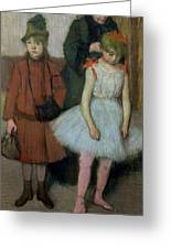 Woman With Two Little Girls Greeting Card