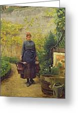 Woman With Watering Cans Greeting Card