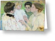 Women Admiring A Child Greeting Card by Mary Stevenson Cassatt