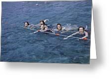Women Swim In A Municipal Swimming Pool Greeting Card by B. Anthony Stewart