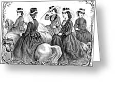 Womens Fashion, 1870 Greeting Card