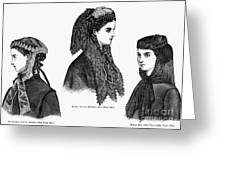 Womens Hats, 1868 Greeting Card