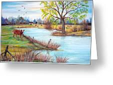 Wonderful Farm Home Greeting Card by Janna Columbus