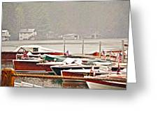 Wood Boats In The Rain Greeting Card