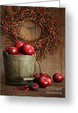 Wood Bucket Of Apples For The Holidays Greeting Card