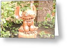 Wood Carving Of Stitch Greeting Card