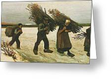 Wood Gatherers In The Snow Greeting Card