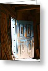 Wood Workers Door In Truchas New Mexico Greeting Card