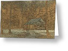 Woodcut Cabin Greeting Card by Jim Finch