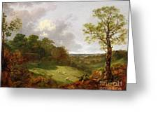 Wooded Landscape With A Cottage - Sheep And A Reclining Shepherd Greeting Card