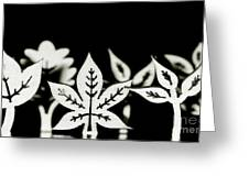 Wooden Leaf Shapes In Black And White Greeting Card