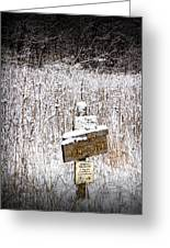 Wooden Sign In Winter By The Yankee Springs Recreation Area In Michigan Greeting Card