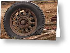 Wooden Spoked Tire Greeting Card