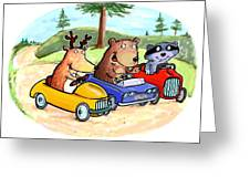 Woodland Traffic Jam Greeting Card