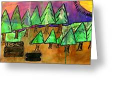 Woods Cut Logs And A Sunset Greeting Card